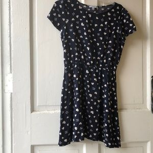 Navy blue with white hearts dress